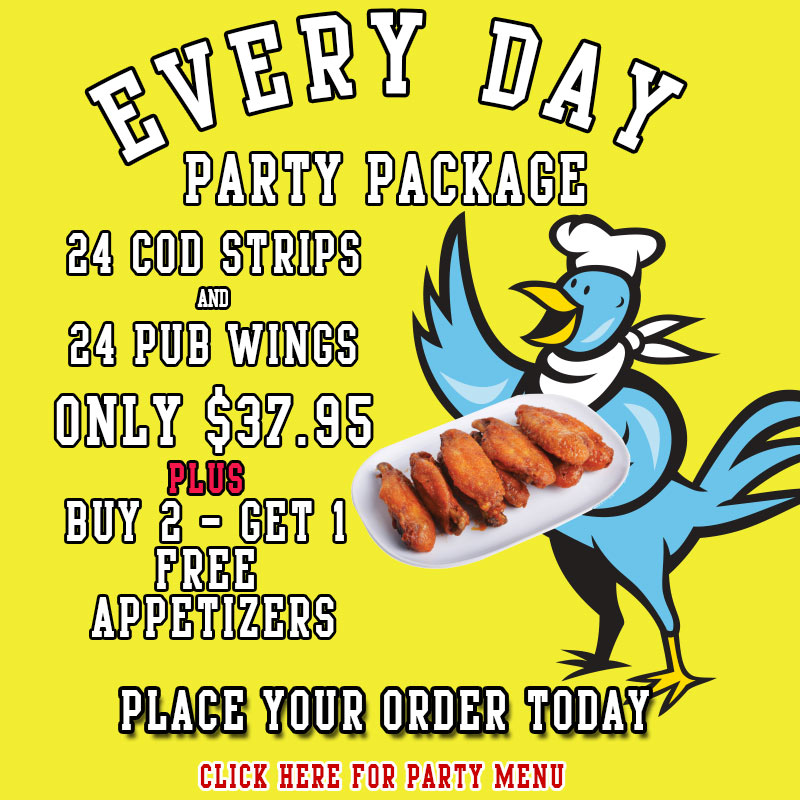 Chippery Party Pack - 24 Cod Strips and 24 Chicken Wings for only $37.95 PLUS buy 2 get 1 free sides